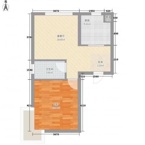 天元瑞�名苑1室1厅1卫1厨58.00㎡户型图
