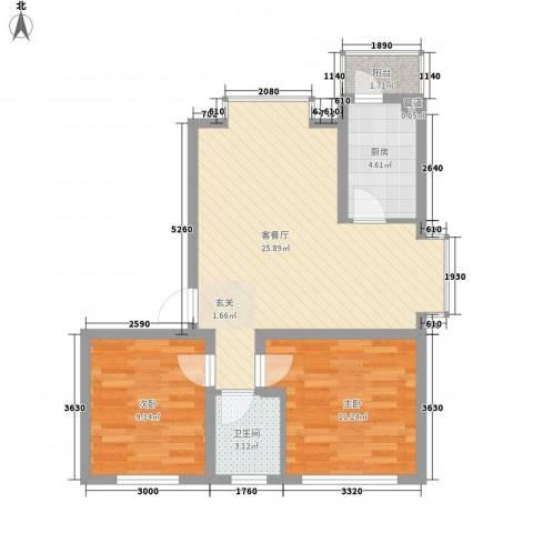 兴发城东逸景2室1厅1卫1厨74.00㎡户型图