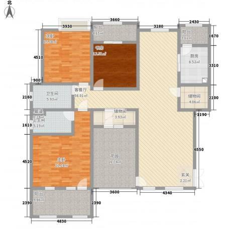 滨江壹号3室1厅2卫1厨166.76㎡户型图