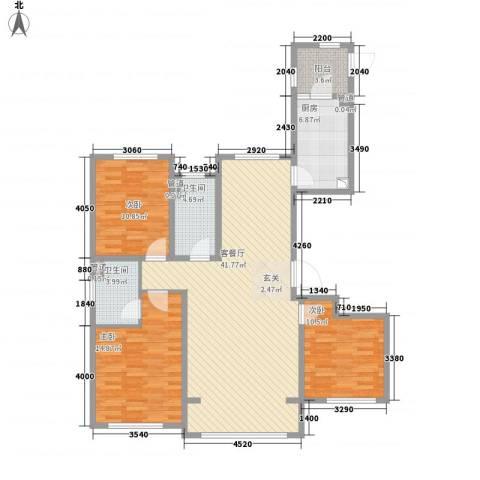 君熙太和3室1厅2卫1厨135.00㎡户型图