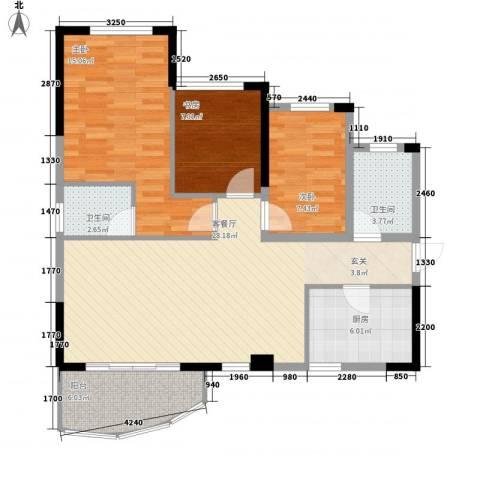 金茂华庭3室1厅2卫1厨76.13㎡户型图