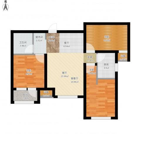 天成佳境3室1厅1卫1厨92.00㎡户型图