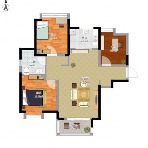 中铁滨湖名邸3室1厅1卫1厨101.00㎡户型图