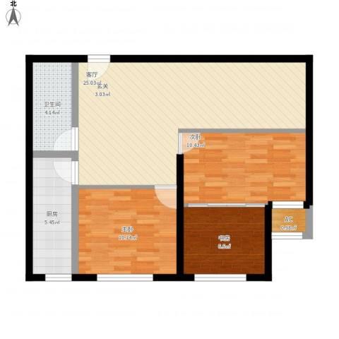 开元花半里3室1厅1卫1厨90.00㎡户型图