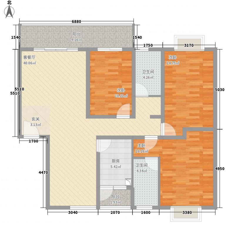 永衡云�13.10㎡AB栋-B户型3室2厅2卫