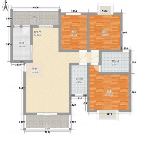 长桥郡3室1厅2卫1厨116.00㎡户型图