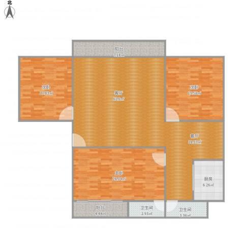 麒麟花园A2-02户型98平3室1厅2卫1厨199.00㎡户型图