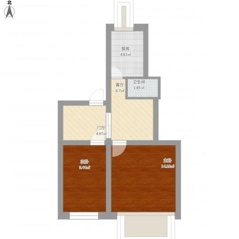 小市口胡同3号院2室1厅1卫1厨64.00㎡户型图