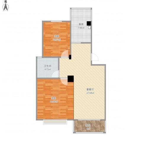 星海嘉苑2室1厅1卫1厨93.00㎡户型图