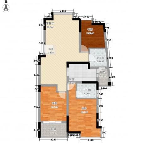 江南经典花园3室1厅2卫1厨122.00㎡户型图