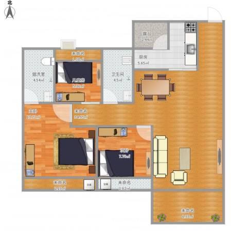 乐雅苑3室1厅1卫1厨97.00㎡户型图