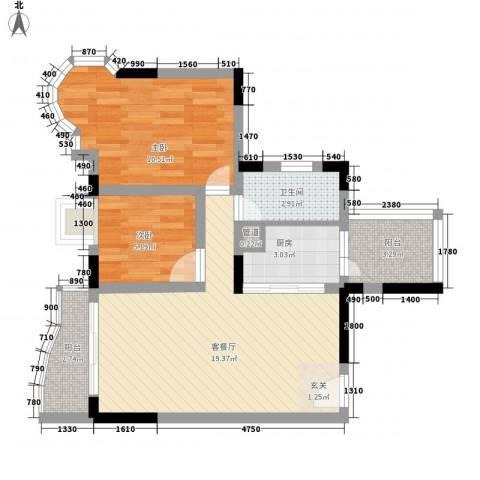 竹洲豪苑2室1厅1卫1厨70.00㎡户型图