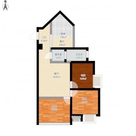 金成・源山3室2厅2卫1厨85.00㎡户型图