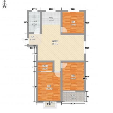 万宏俪城3室1厅1卫0厨116.00㎡户型图