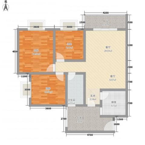 长桥郡3室1厅1卫1厨87.16㎡户型图