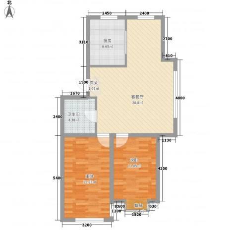 金城福邸2室1厅1卫1厨88.00㎡户型图