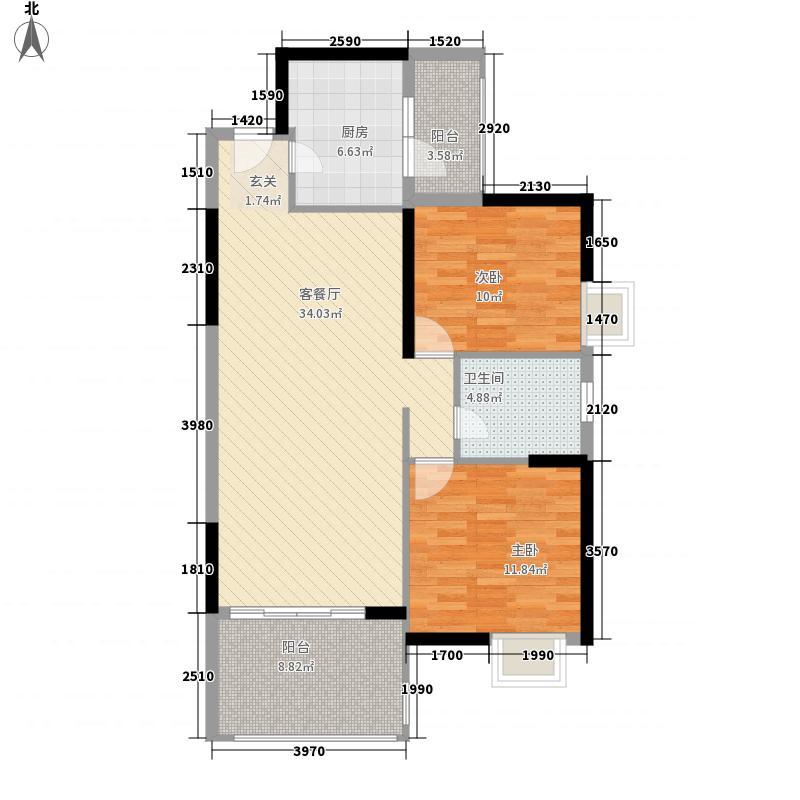 富虹上游城1.52㎡9-11标准层户型2室2厅2卫1厨