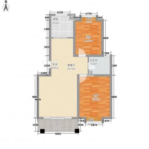 海信盈城2室1厅1卫1厨105.00㎡户型图