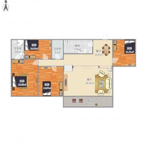 御景苑NU297134室2厅2卫1厨177.00㎡户型图