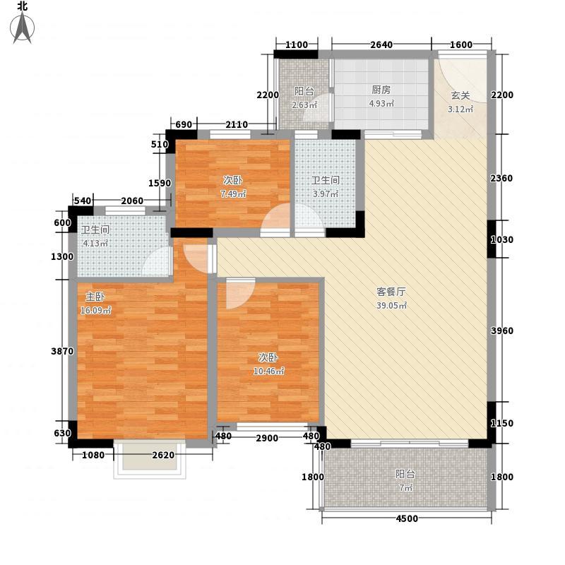怡景福田13118.16㎡01户型3室2厅2卫