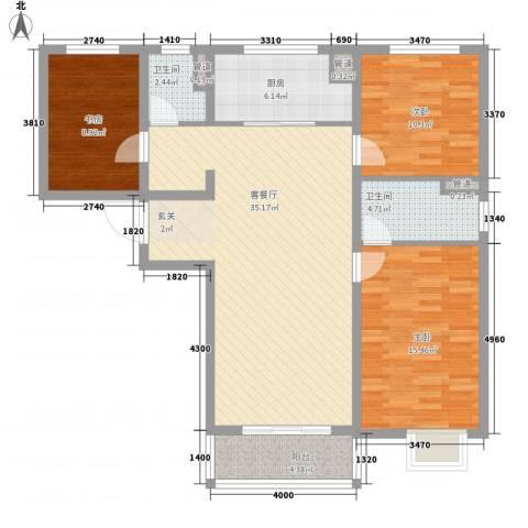 万科金域东郡3室1厅2卫1厨126.00㎡户型图