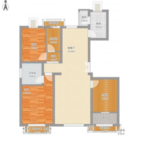 文澜雅筑2室1厅1卫2厨128.00㎡户型图