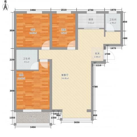 百花家园3室1厅2卫1厨115.00㎡户型图