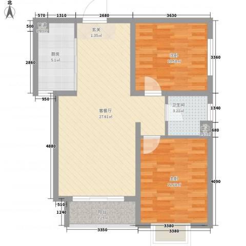 卓达星辰银座2室1厅1卫1厨89.00㎡户型图