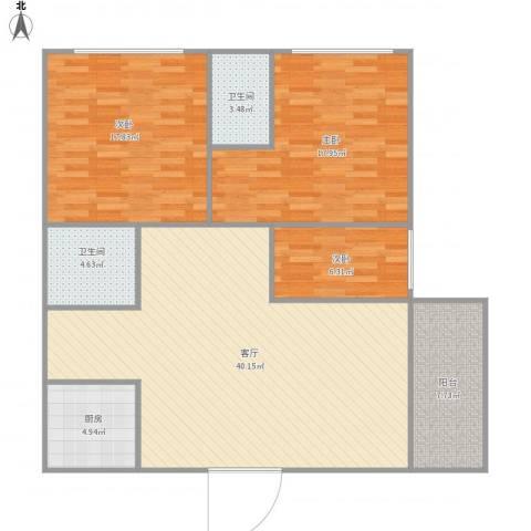 吉祥山庄4043室1厅2卫1厨138.00㎡户型图