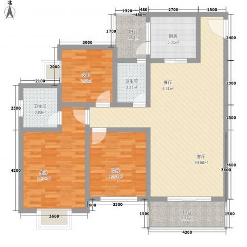 长桥郡3室1厅2卫1厨88.21㎡户型图