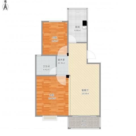 星海嘉苑2室1厅1卫1厨89.00㎡户型图