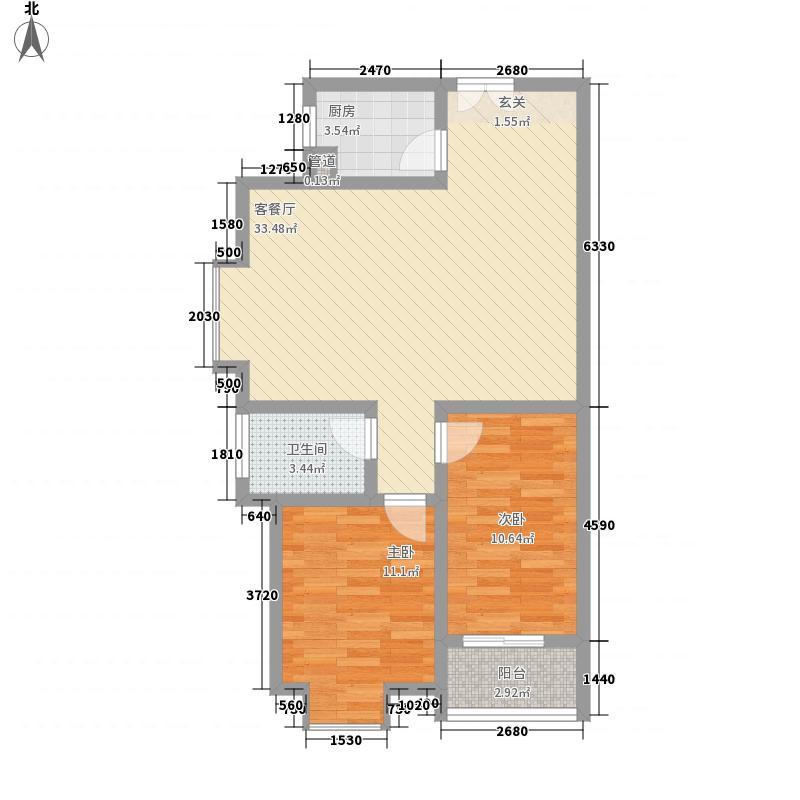 壹号大院13127.38㎡二期1号楼户型3室2厅2卫1厨