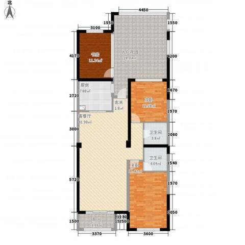 天力水榭春城3室1厅2卫1厨142.00㎡户型图