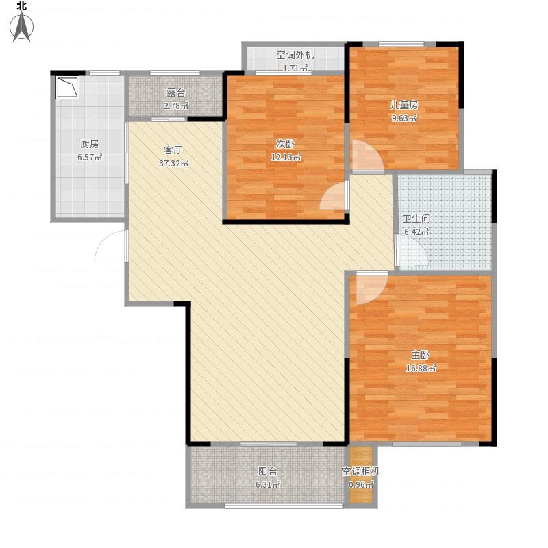 水印加州依云郡三房两厅一卫109m²