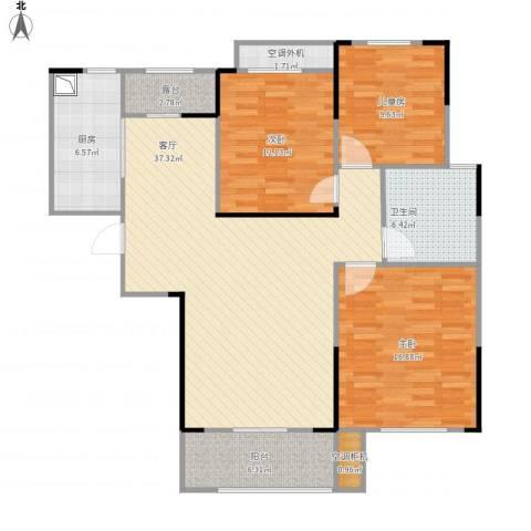 水映加州依云郡3室1厅1卫1厨136.00㎡户型图