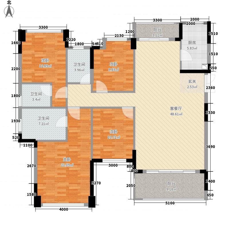 中集・国际城五期173.00㎡105栋一单元01户型4室2厅3卫1厨