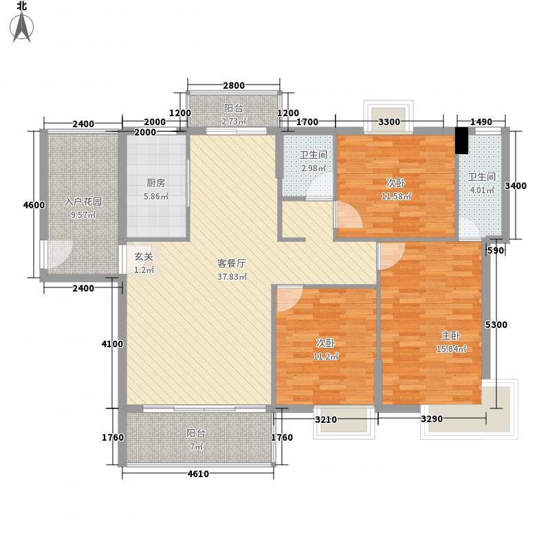 龙峰・学府新城127.53㎡C1-02户型3室2厅2卫1厨