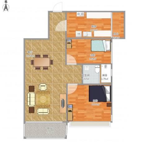 逸翠园2室1厅1卫1厨109.00㎡户型图