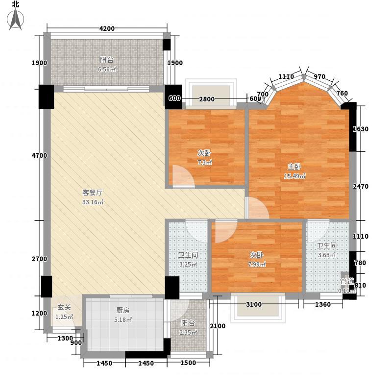 松鹤国际新城11.78㎡A1-A4座3-13层01单位户型3室2厅2卫1厨