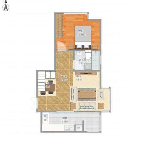 家立方1室1厅1卫1厨62.00㎡户型图