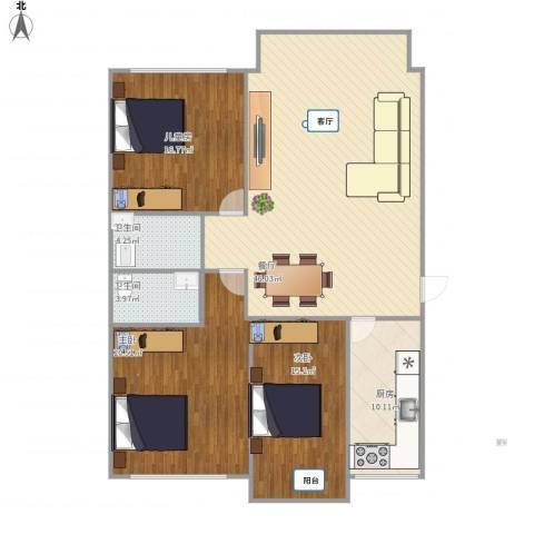 幸福花园3室1厅2卫1厨155.00㎡户型图