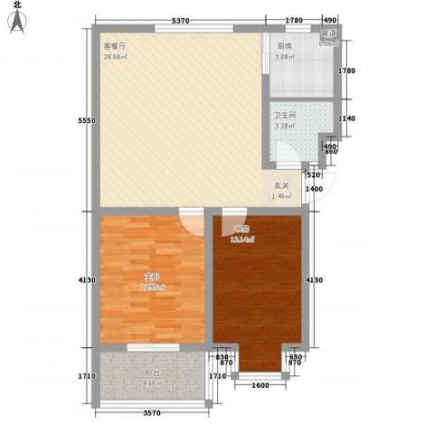 富泽园2室1厅1卫1厨65.87㎡户型图