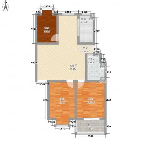 富泽园3室1厅1卫1厨111.00㎡户型图