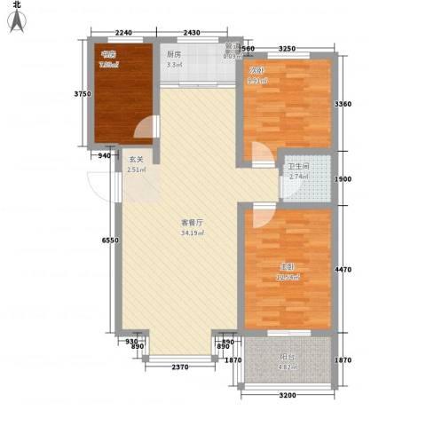 富泽园3室1厅1卫1厨74.69㎡户型图