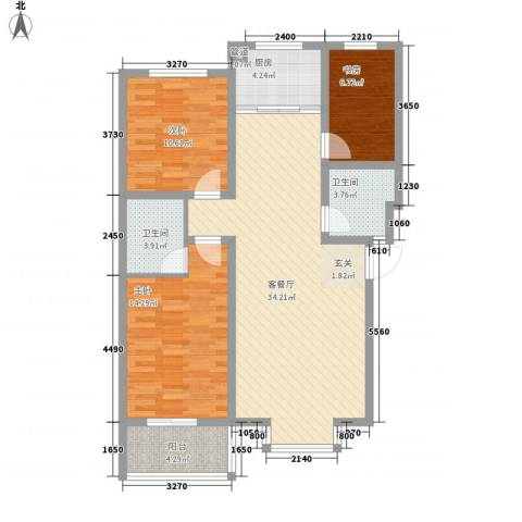 富泽园3室1厅2卫1厨116.00㎡户型图