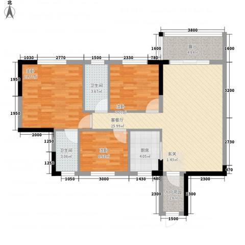 东海名都3室1厅2卫1厨85.00㎡户型图