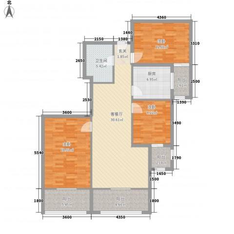 瑞丽江畔3室1厅1卫1厨141.00㎡户型图