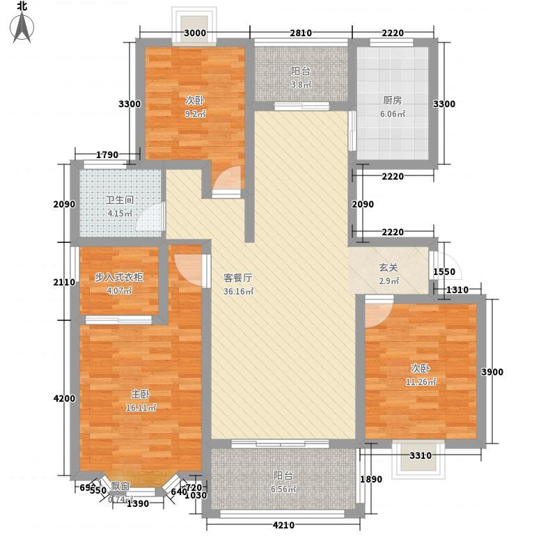 澜山和府122.30㎡F户型3室2厅1卫1厨