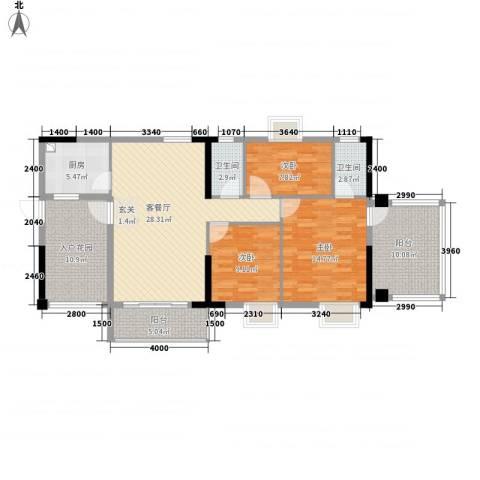 美陶花园3室1厅2卫1厨110.29㎡户型图
