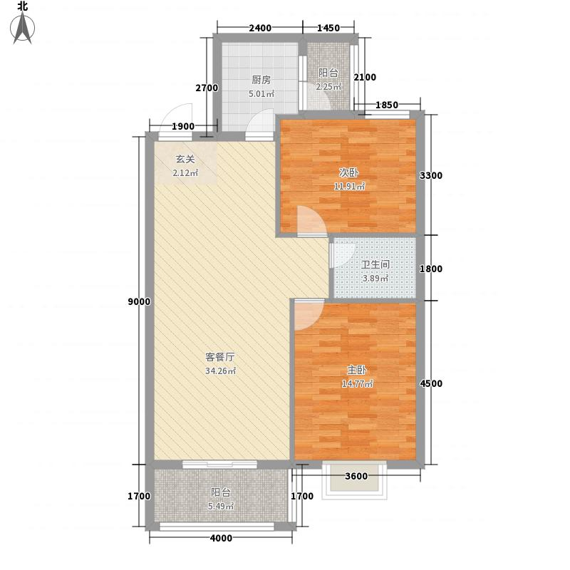 阳光・精英小区5.54㎡精英小区C户型2室2厅1卫1厨